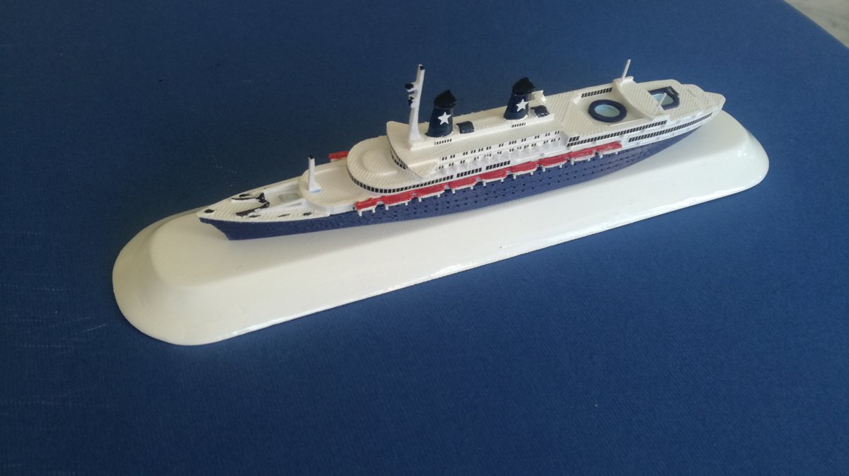"Model Ship Achille Lauro ex. Willem Ruys Limited Edition ""Dark Blue"" scale 1:1250 - Flotta Lauro 1946 - 1994"