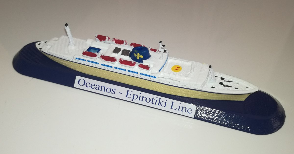 EPIROTIKI LINE Grecia model m/v Oceanos scala 1 1250 GreeK Ship Flotta Lauro
