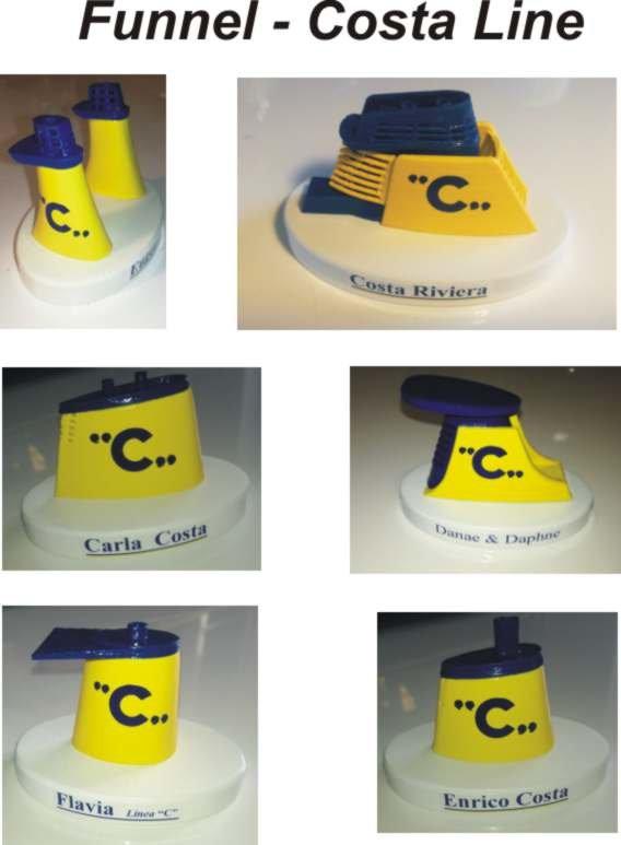 Costa Crociere -Le Ciminiere storiche -  Eugenio Costa - Costa Riviera - Daphne - Danae - Enrico Costa - Carla Costa - Flavia linea C . in  scala 1 300 colori Costa