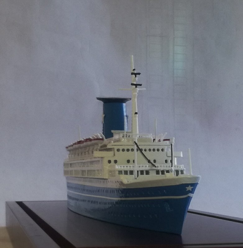 ANGELINA LAURO Ex. Oranje Flotta Lauro , model ship scale 1:500 length 412 mm over all 50 mm.