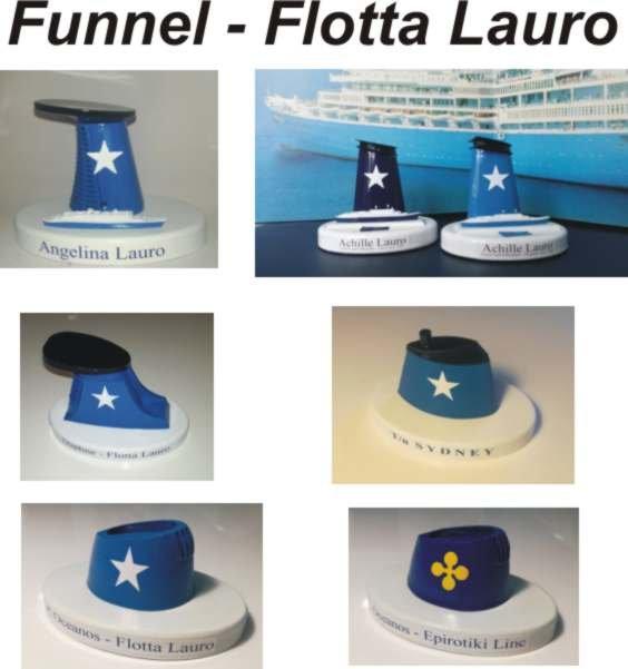 Angelina Lauro ex Oranje model funnel ciminiera scale 1:300 Flotta Lauro anni 60